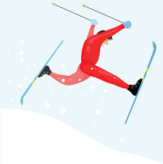 Ski racer on the snow. Man jumps with his ski.