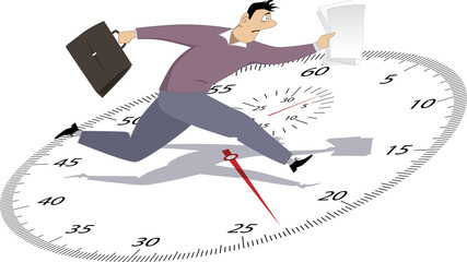 Stressed man running with papers on a stop-watch