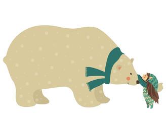 Little angel and polar bear