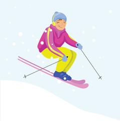 Ski racer on the snow