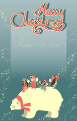Cute angels and polar bear celebrating Christmas