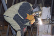 Welder working on welding of shells heat exchanger