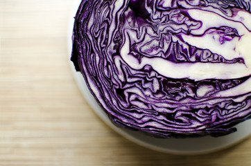 Close up of bisected red cabbage