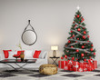 Decorated Christmas tree with red gifts