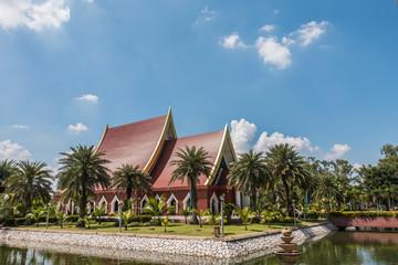 Red pavilion at Wat Yai Chaimongkol, Ayutthaya, Thailand