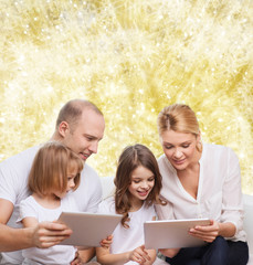 happy family with tablet pc computers