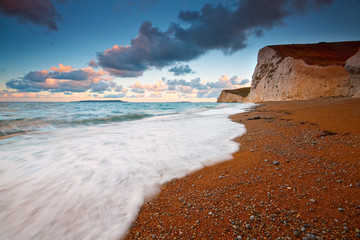 Evening on Jurassic coast in Dorset, UK.
