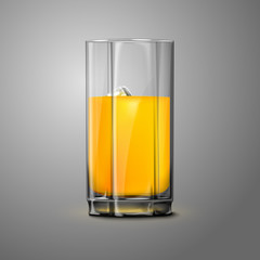 Realistic Vector orange juice glass with ice. Transparent for
