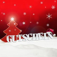 Christmas voucher Gutschein tree snow red