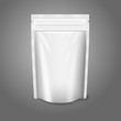 Blank white realistic plastic pouch with zipper. Vector - 73435643