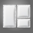 Blank white plastic sachets for coffee, sugar, salt, spices, - 73435664