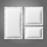 Blank white plastic sachets for coffee, sugar, salt, spices, - 73435664