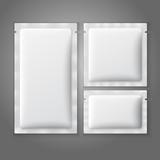 Blank white plastic sachets for coffee, sugar, salt, spices,