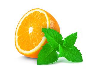 slice of orange and mint isolated on white
