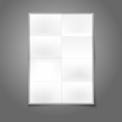 Blank white realistic folded poster with place for your design