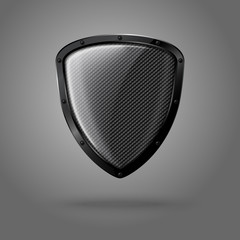Blank realistic glossy shield with carbon texture and black