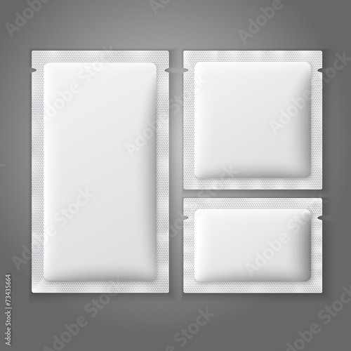 Blank white plastic sachets for coffee, sugar, salt, spices,
