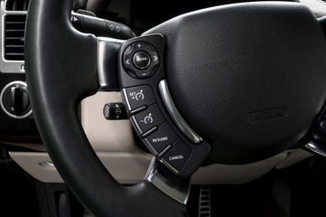 Control buttons on steering wheel. Car interior.