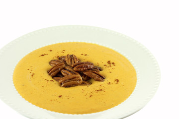 Homemade Butternut Squash Soup With Candied Pecans