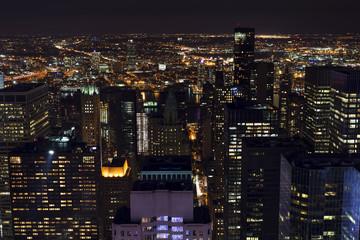 Manhattan skyline by night