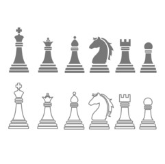 chess pieces including king, queen, rook, pawn, knight, and