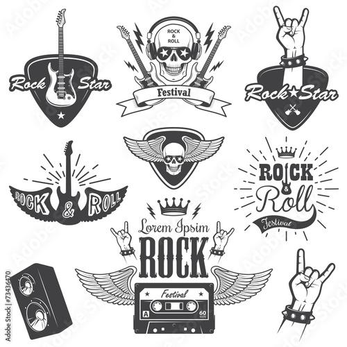 Set of rock and roll music emblems. set 2 - 73436470