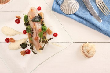 cured mackerel plated appetizer starter