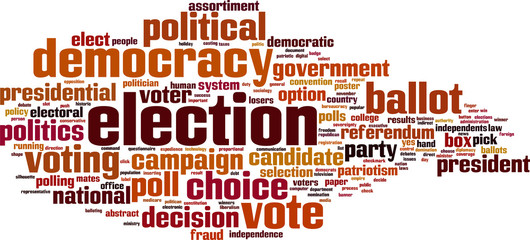 Election word cloud concept. Vector illustration