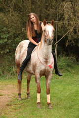 Pretty girl riding a horse without any equipment