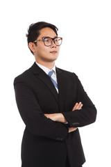 Asian businessman folded arm look away