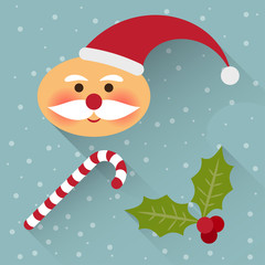 funny cartoon winter holidays background with cute Santa Claus,