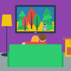 illustration in a flat style with couple watching television sit
