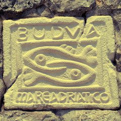 City sign of Budva, Montenegro