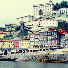 "Ribeira and wine boats(""Rabelo"") on River Douro, Porto, Portugal"