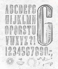 Vintage font letters