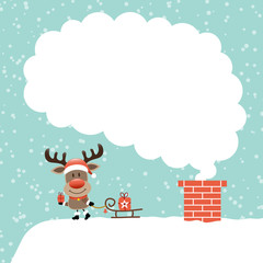 Rudolph On Roof Sleigh Cloud Of Smoke Snow Retro