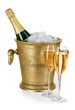 Bottle of champagne  in ice bucket - 73439217
