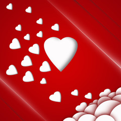 valentine card with white hearts on red background
