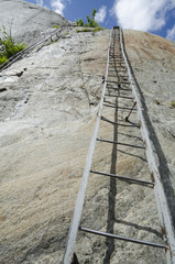 Mountain track on the steep cliff