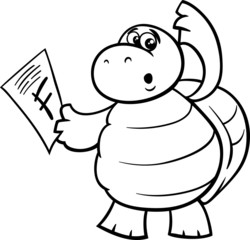 turtle with f mark coloring page