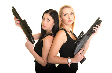 sexy young women with weapons