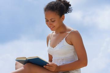 Reading book.