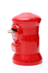 Red toy post box, money bank of post style