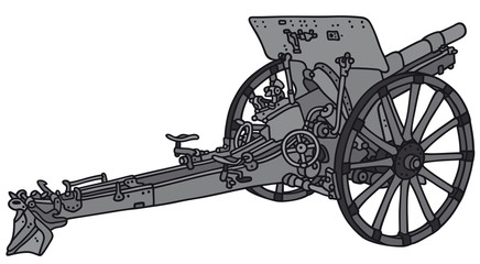Hand drawing of a vintage cannon