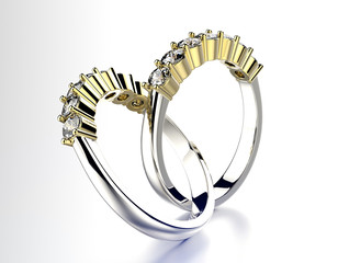 Wedding Rings with Diamond. Jewelry background