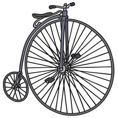 Hand drawing of a big vintage bicycle