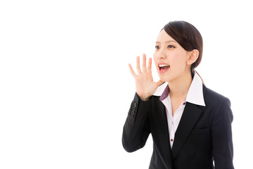 asian businesswoman yelling on white background
