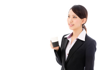 asian businesswoman relaxing on white background
