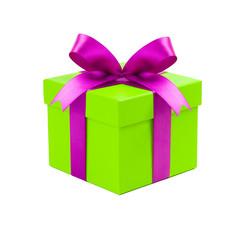 Buntes Geschenk vor weißem Hintergrund