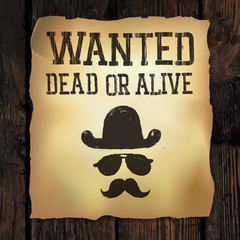 """Old """"Wanted..."""" poster, vector illustration"""